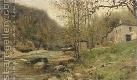 Ferme au bord d'un torrent dans le Jura By a river in a hilly landscape by Adolphe Appian - Reproduction Oil Painting