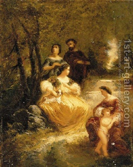 Figures by a stream in a woodland glen by Adolphe Joseph Thomas Monticelli - Reproduction Oil Painting