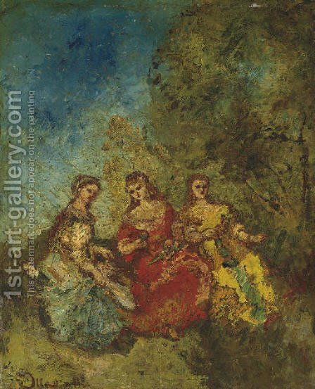 Les trois dames d'honneur by Adolphe Joseph Thomas Monticelli - Reproduction Oil Painting