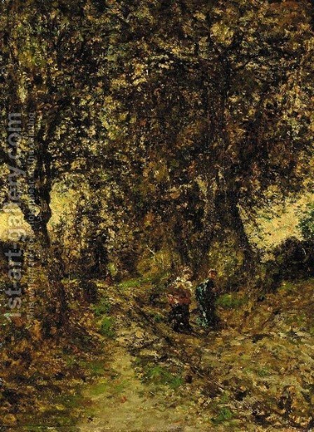 Promenade en foret by Adolphe Monticelli - Reproduction Oil Painting