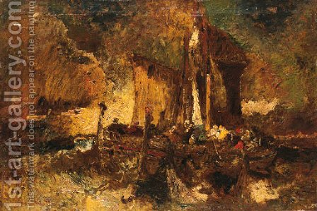 Fishermen lifting the nets before the storm, Coastal scene by Adolphe Joseph Thomas Monticelli - Reproduction Oil Painting
