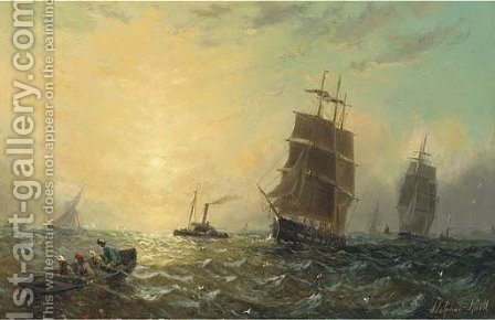 Heading for home by Adolphus Knell - Reproduction Oil Painting