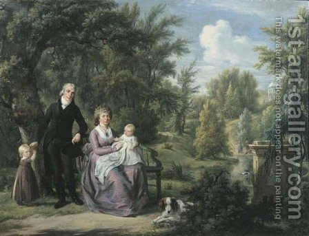 Group portrait of a gentleman and a lady, the latter seated on a bench, with their two children and dog in the park of Elswout, Overveen by Adriaan de Lelie - Reproduction Oil Painting