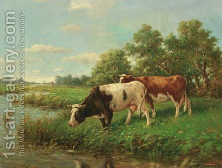 Cows in a meadow by Adriaan Marinus Geijp - Reproduction Oil Painting