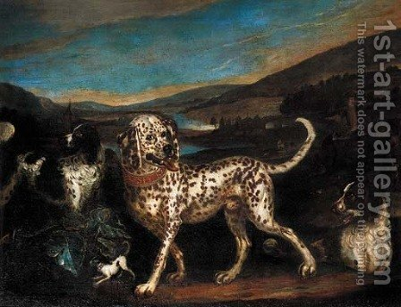 A dalmatian with a sportsman and hounds in a landscape by Adriaen Cornelisz. Beeldemaker - Reproduction Oil Painting