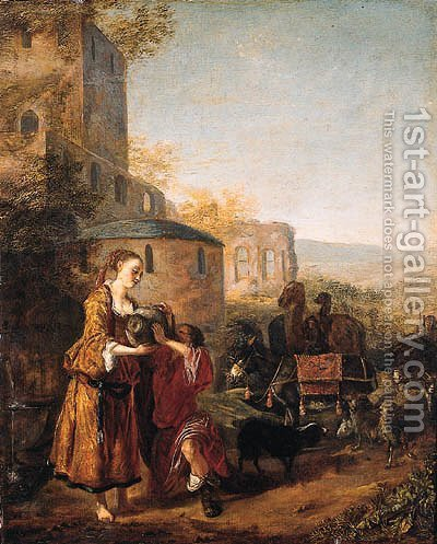 Rebecca and Eliezer at the Well by Adriaen Cornelisz. Beeldemaker - Reproduction Oil Painting