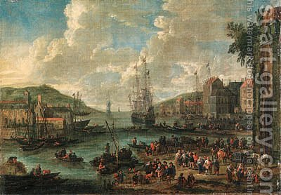 A port, with men-o-war and other shipping, townsfolk and fishermen on the shore by Adriaen Frans Boudewijns - Reproduction Oil Painting