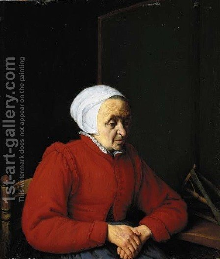 An elderly lady in a red coat, by a table with a distaff by Adriaen Jansz. Van Ostade - Reproduction Oil Painting