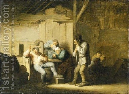 Boors smoking and drinking in an interior by Adriaen Jansz. Van Ostade - Reproduction Oil Painting