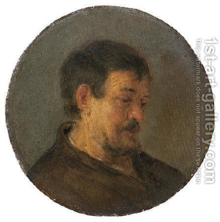 Head of a man by Adriaen Jansz. Van Ostade - Reproduction Oil Painting