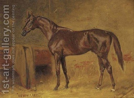 A chestnut racehorse in a stable by Adrian Jones - Reproduction Oil Painting