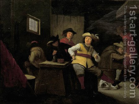 Officers smoking in a guardroom by Adriaen Lucasz. Fonteyn - Reproduction Oil Painting