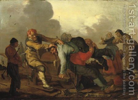 Figures brawling with onlookers on a road by Adriaen Pietersz. Van De Venne - Reproduction Oil Painting
