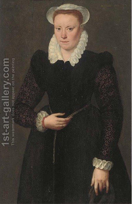 Portrait of a lady, aged 28, three-quarter-length, in a black dress with brocade sleeves, white collar, cuffs and bonnet and with a gold chain around by Adriaan Key - Reproduction Oil Painting