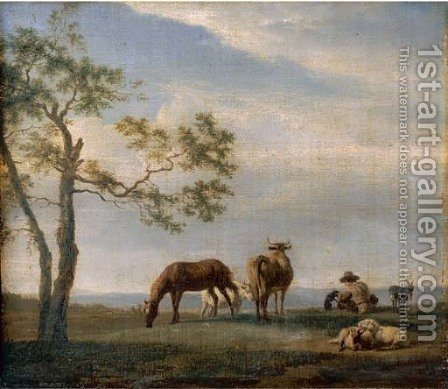 An extensive landscape with a herdsman with cattle, goats and a horse by Adriaen Van De Velde - Reproduction Oil Painting