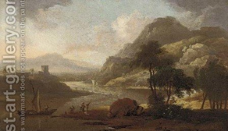 A Rhenish river landscape with figures by a boat by Adriaen Van Diest - Reproduction Oil Painting