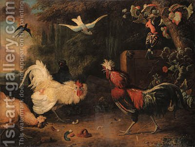 Two cocks fighting, with hens, a swallow and two exotic birds in a wooded landscape by Adriaen van Oolen - Reproduction Oil Painting