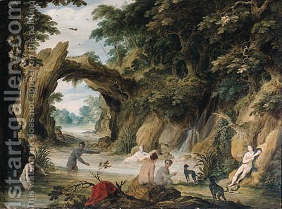Diana and her nymphs bathing after the chase by Adriaan van Stalbemt - Reproduction Oil Painting