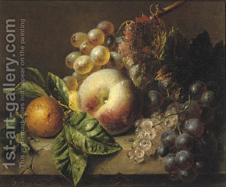 A peach, medlar, grapes and white currants on a ledge by Adriana-Johanna Haanen - Reproduction Oil Painting