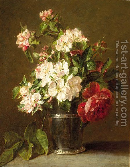 Appleblossom and roses in a silver beaker by Adriana-Johanna Haanen - Reproduction Oil Painting