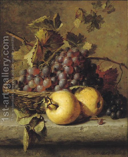 Apples and grapes on a ledge by Adriana-Johanna Haanen - Reproduction Oil Painting