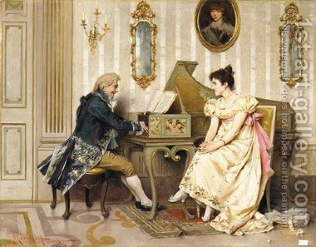 The serenade by Adriano Cecchi - Reproduction Oil Painting