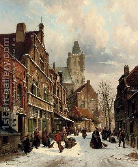 Numerous figures in a Dutch street in winter by Adrianus Eversen - Reproduction Oil Painting