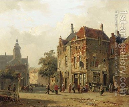 Numerous figures on a sunlit town square by Adrianus Eversen - Reproduction Oil Painting