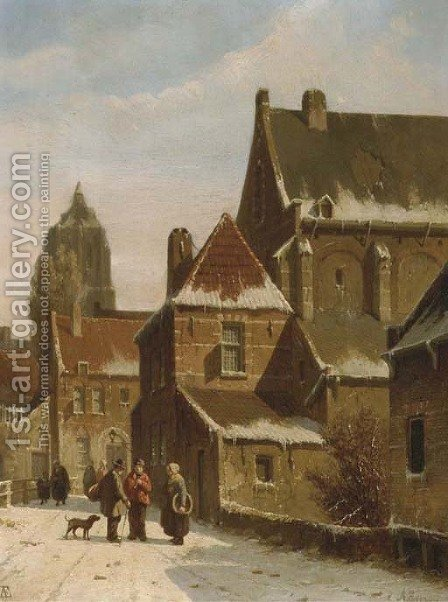 Townspeople conversing in a Dutch town in winter by Adrianus Eversen - Reproduction Oil Painting
