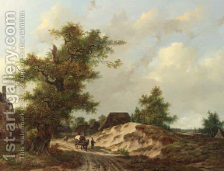 Travellers on a sandy track through a village in a wooded landscape by Adrianus Van Der Koogh - Reproduction Oil Painting