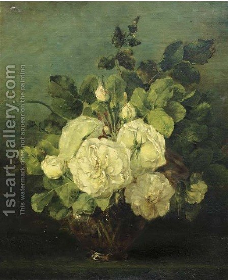 White roses in a glass vase by Adrienne J. Van Hogendorp-S'Jacob - Reproduction Oil Painting