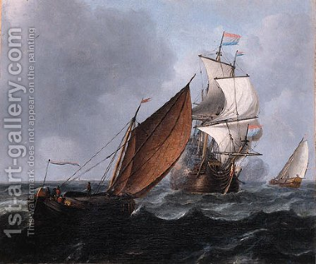 A wijdschip running before the wind while a merchantman fires a salute, in a stiff breeze by Aernout Smit - Reproduction Oil Painting