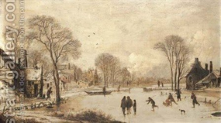 Skaters on a frozen canal by a village by Aert van der Neer - Reproduction Oil Painting