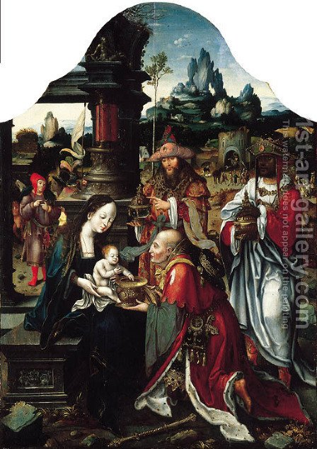 The Adoration of the Magi by (after) Jan Van Dornicke - Reproduction Oil Painting