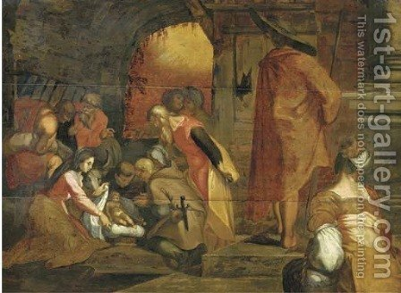 The Adoration of the Shepherds by (after) Abraham Bloemaert - Reproduction Oil Painting