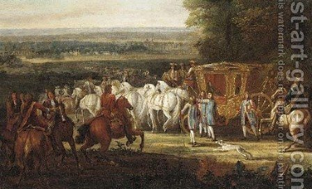 A Royal carriage with attendants in an extensive landscape by Adam Frans van der Meulen - Reproduction Oil Painting
