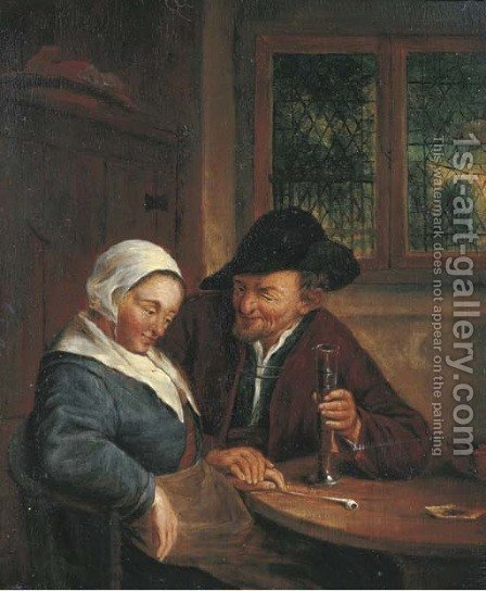 A man courting a woman in an interior by (after) Adriaen Jansz. Van Ostade - Reproduction Oil Painting