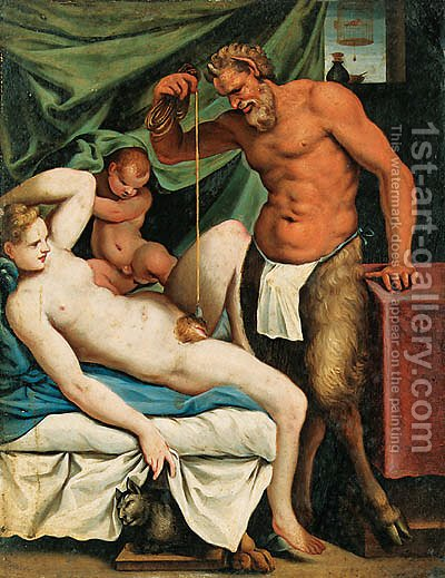 The Satyr Mason by (after) Agostino Carracci - Reproduction Oil Painting