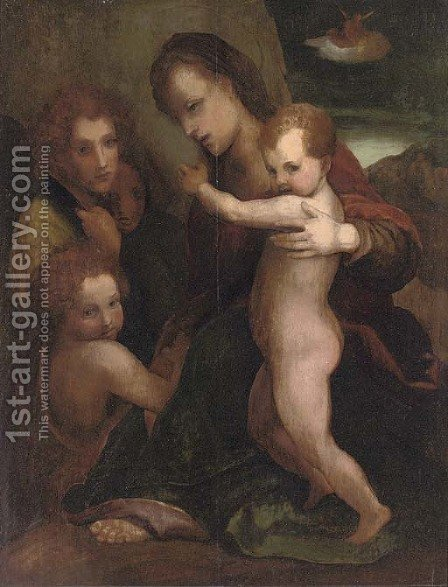 The Madonna and Child with the Young Saint John the Baptist and an Angel, the Annunciation to the Shepherds in the distance by (after) Andrea Del Sarto - Reproduction Oil Painting