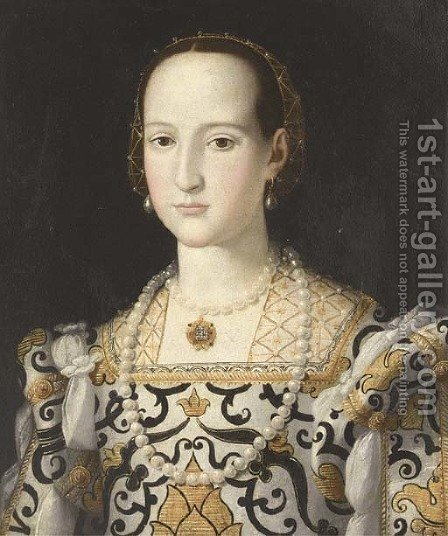 Portrait of Elenor of Toledo, bust-length by Agnolo Bronzino - Reproduction Oil Painting