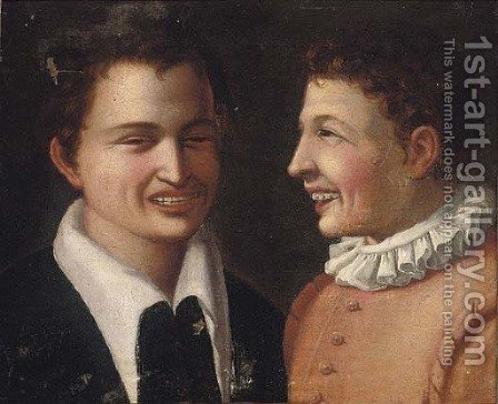 The laughter by (after) Annibale Carracci - Reproduction Oil Painting