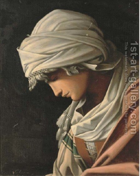 Portrait of an Ottoman, bust-length, in profile by (after) Baldassar Schidone - Reproduction Oil Painting