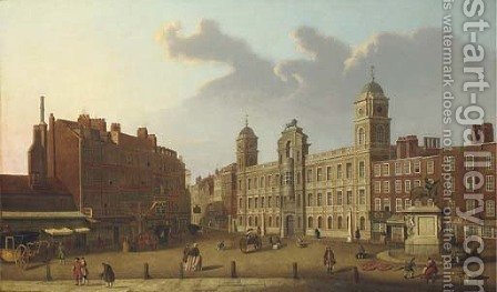 A view of Old Northumberland House, with figures in the foreground by (after)  (Giovanni Antonio Canal) Canaletto - Reproduction Oil Painting