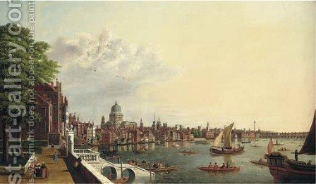 View of the Thames from the terrace of Somerset House, St. Paul's and the City beyond by (after)  (Giovanni Antonio Canal) Canaletto - Reproduction Oil Painting