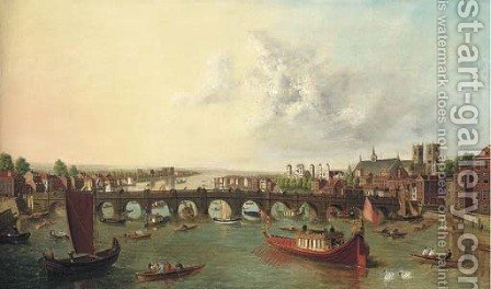 View of the Thames, with Westminster Bridge from the North on Lord Mayor's Day by (after)  (Giovanni Antonio Canal) Canaletto - Reproduction Oil Painting