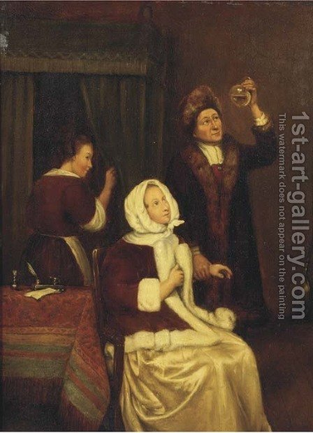 The Physician's visit by (after) Caspar Netscher - Reproduction Oil Painting