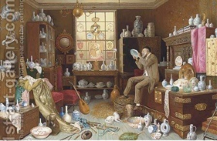 The porcelain connoisseur by (after) Charles Spencelay - Reproduction Oil Painting
