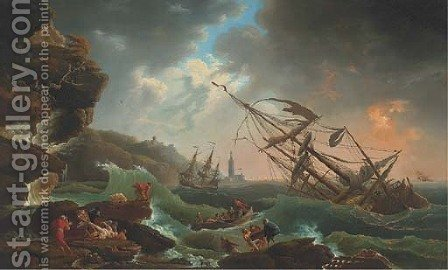 A Mediterranean coast with a shipwreck in stormy seas, castaways in the foreground by (after) Claude-Joseph Vernet - Reproduction Oil Painting