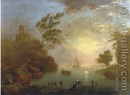 A Mediterranean inlet at sunset with fisherfolk in the foreground, a hilltop town beyond by (after) Claude-Joseph Vernet - Reproduction Oil Painting