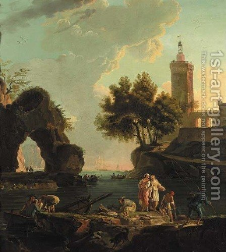 Fishermen unloading cargo on a landing stage in a Mediterranean harbour, a lighthouse beyond by (after) Claude-Joseph Vernet - Reproduction Oil Painting